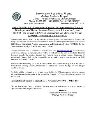 Directorate of Institutional Finance Madhya ... - Mptreasury.org