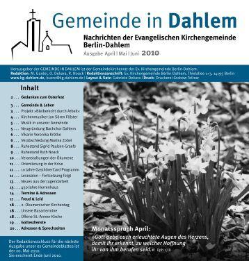 Mai | Juni 2010 - Ev. Kirchengemeinde Berlin-Dahlem