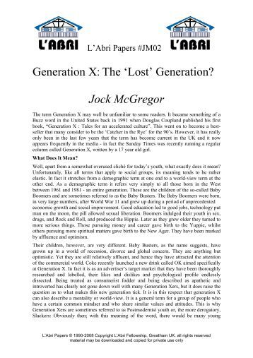 generation x by douglas coupland essay The generation at the end of history – book review: generation x by engagement with coupland's generation x generation x by douglas coupland.