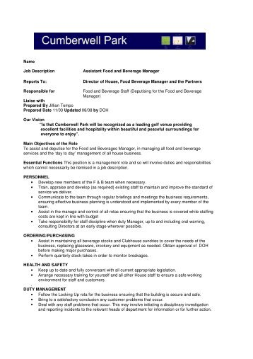Food And Beverage Director Job Description