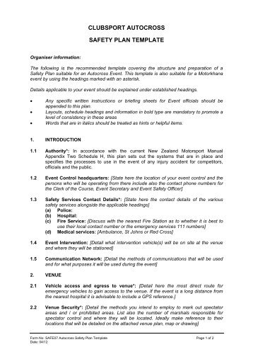 Sample Safety Plan Template Sample Templates  DinosauriensInfo