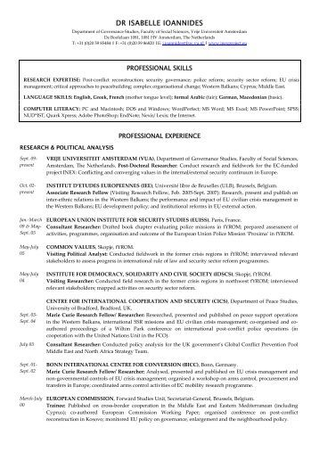 extended version of Isabelle Ioannidess CV - European Foreign and ...