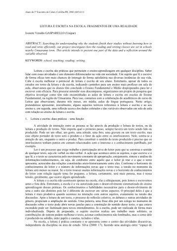 LEITURA E ESCRITA NA ESCOLA: FRAGMENTOS ... - Celsul.org.br