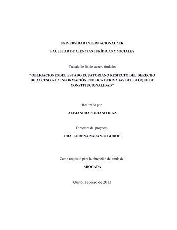 Obligaciones del Estado Ecuatoriano Respecto del Derecho de ...