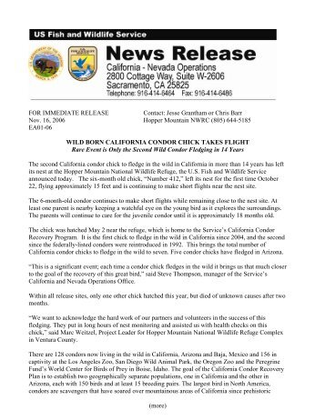 FOR IMMEDIATE RELEASE Contact - U.S. Fish and Wildlife Service