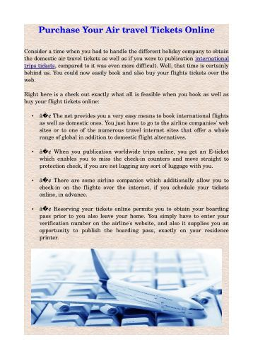 Purchase Your Air travel Tickets Online