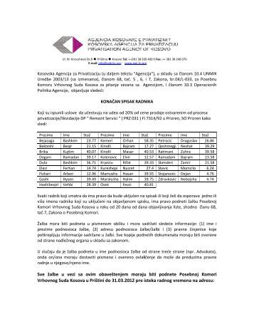 08.03.2012 31.03.2012DP Remont Servisi PrizrenOtvori PDF