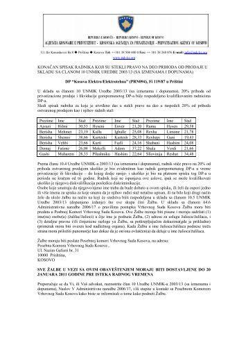 """Kosova Elektro/Elektrotehna"" u PrištiniOtvori PDF - Agjencia ..."