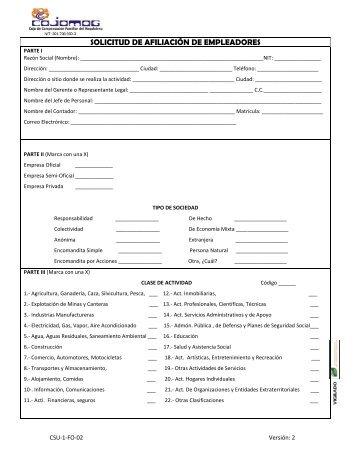 Descarga Formulario de Afiliación Empresas. - Cajamag