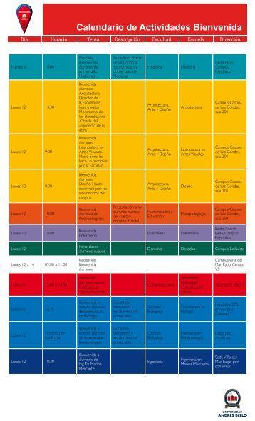 Calendario de Actividades Bienvenida - Universidad Andrés Bello