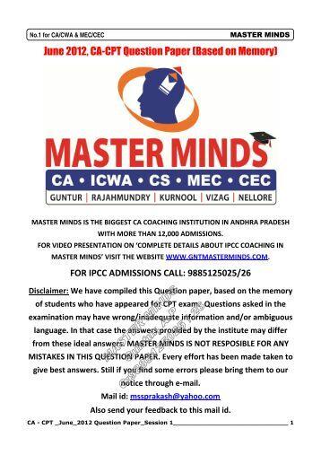 June 2012, CA-CPT Question Paper - Entrance Exams 2013 ...
