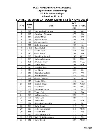 corrected open category merit list (17 june 2013) - MES Abasaheb ...