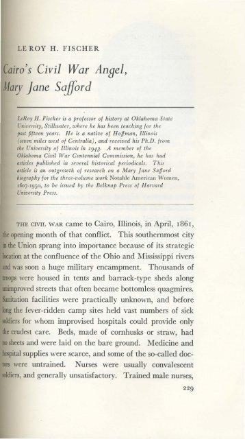 Cairo's Civil War Ansel, Mary Jane Safford
