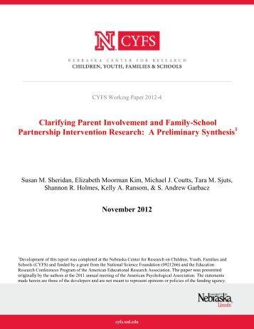 Clarifying Parent Involvement and Family-School Partnership ...