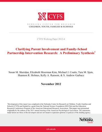 Clarifying Parent Involvement and Family-School Partnership ...