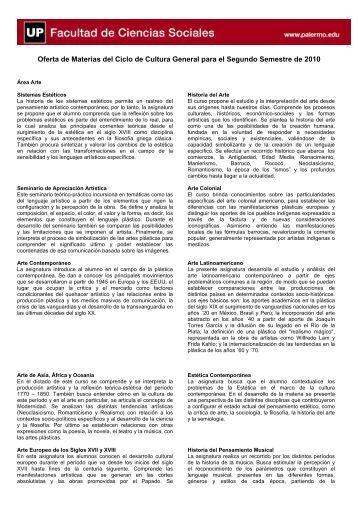Oferta de Materias del Ciclo de Cultura General para el Segundo ...