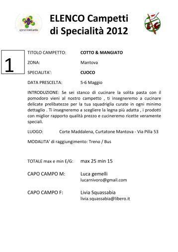 ELENCO Campetti di Specialità 2012 - Sondrio Scout