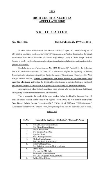 Notification No. 2061-RG dated, 17th May, 2013 regarding List of ...