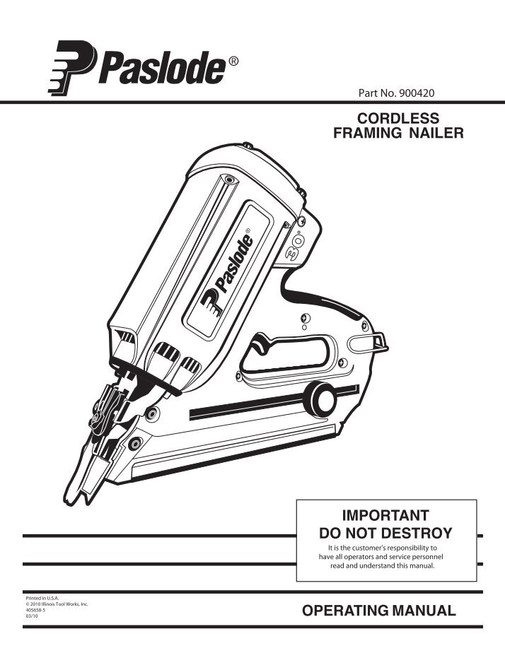 Dorable Paslode Cordless Framing Nailer Manual Inspiration - Frames ...