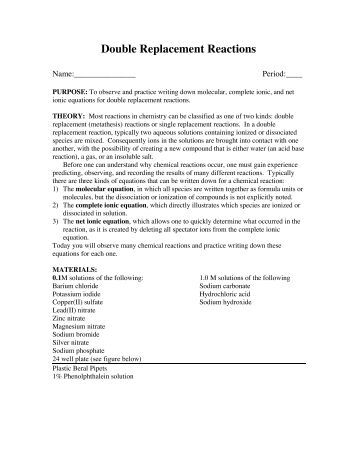 Collection of Worksheet On Single And Double Replacement Reactions ...