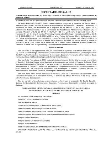 Norma Oficial Mexicana NOM-001-SSA3-2012 - Depas.buap.mx