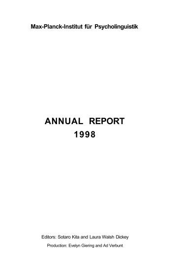 ANNUAL REPORT 1998 - PubMan - Max-Planck-Gesellschaft