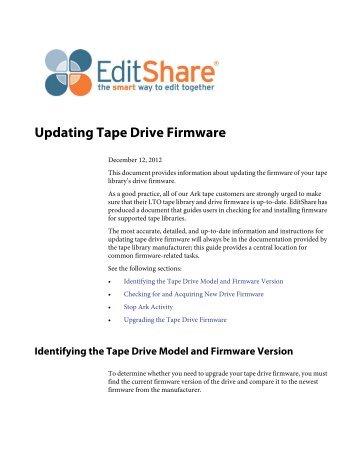 Updating Tape Drive Firmware - Software updates - EditShare