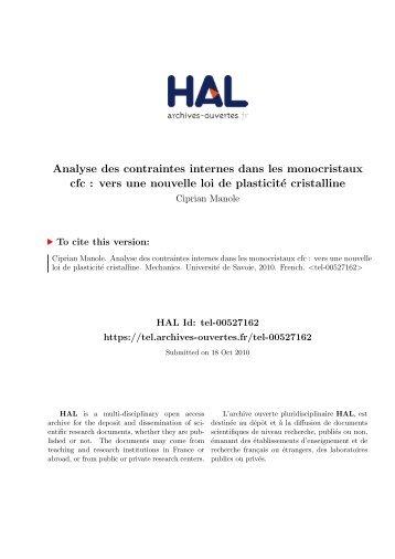 Analyse des contraintes internes dans les monocristaux cfc: vers ...