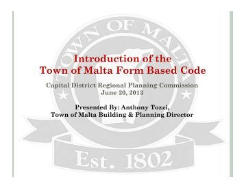 Town of Malta Form Based Code - Capital District Regional ...
