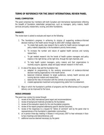terms of reference for the 2006/07 international review panel
