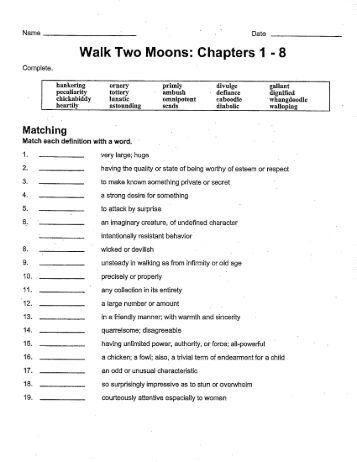 walk two moons worksheets wiildcreative pdf walk two moons chapters 28 pages walking two moons