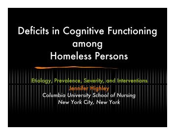 Deficits in Cognitive Functioning among Homeless Persons