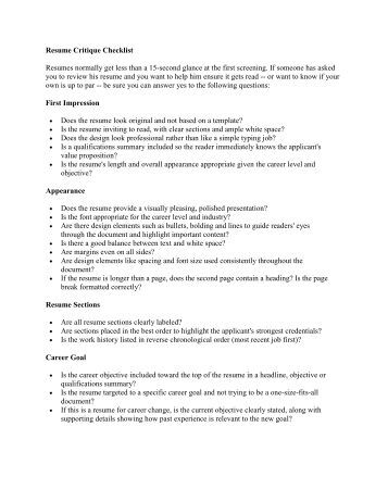 resume critique checklist