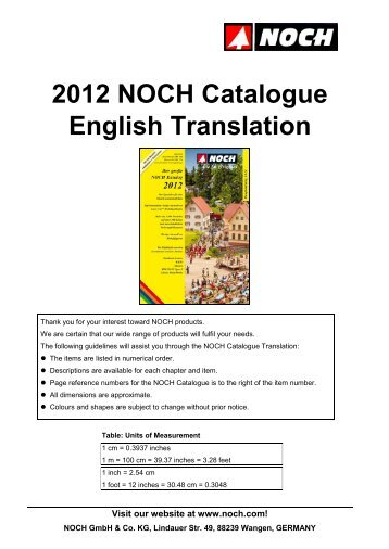 2012 NOCH Catalogue – English Translation page 2