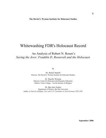 Whitewashing Fdr's Holocaust Record