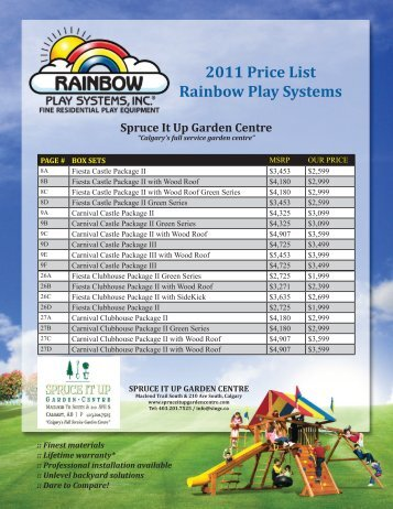 2011 Price List Rainbow Play Systems - Spruce It Up Garden Centre