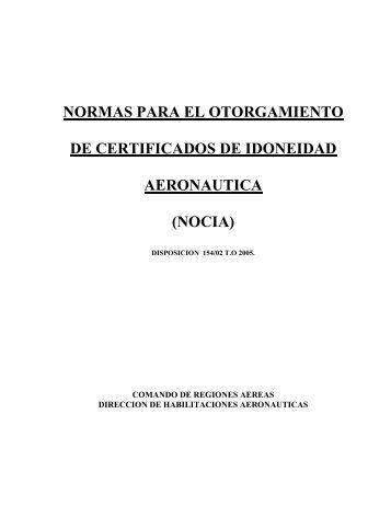 normas para el otorgamiento de certificados de idoneidad aeronautica