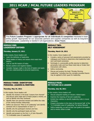 2011 hcam / mcal future leaders program - Health Care Association ...
