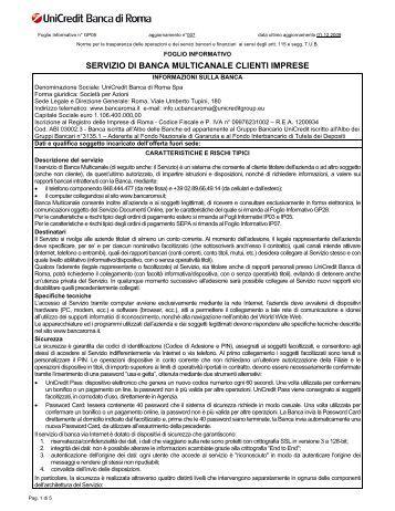 SERVIZIO DI BANCA MULTICANALE CLIENTI IMPRESE - Unicredit
