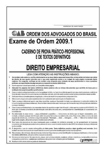 Direito Empresarial - CESPE / UnB