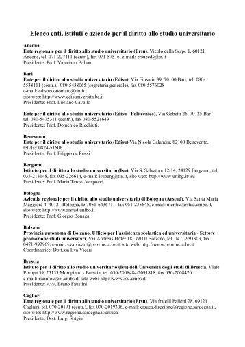 Elenco Enti per diritto studio - Provincia di Frosinone