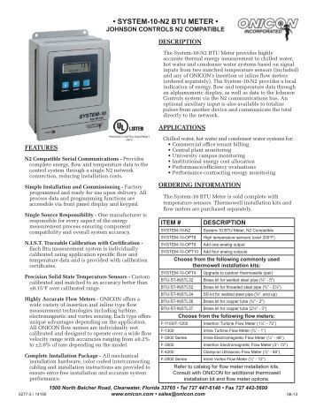 System 10 Btu Meter Johnson Controls N2 Version
