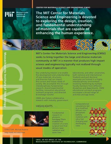 The MIT Center for Materials Science and Engineering is devoted to ...