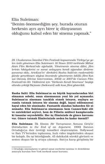 Elia Suleiman - Mithat Alam Film Merkezi