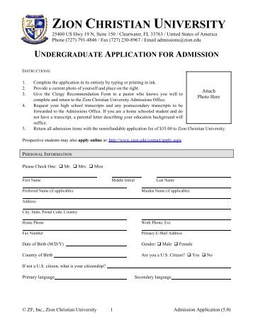 Admission Application - Zion Christian University