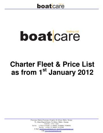 Charter Fleet & Price List as from 1 January 2012 - Worldnautic.com