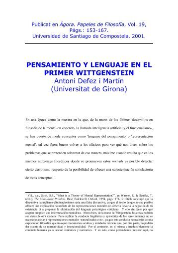 PENSAMIENTO Y LENGUAJE EN EL PRIMER WITTGENSTEIN ...
