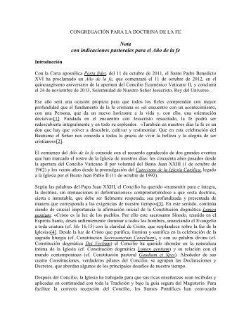 Nota con indicaciones pastorales para el Año de la fe - amoz.com.mx