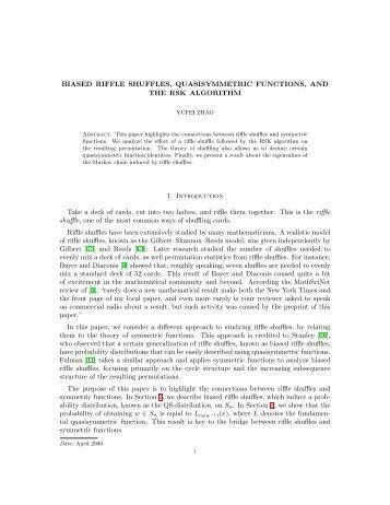 Biased Riffle Shuffles, Quasisymmetric Functions, and ... - Yufei Zhao