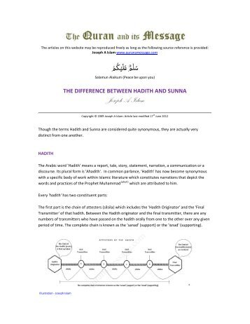 the difference between hadith and sunna - The Quran and its Message